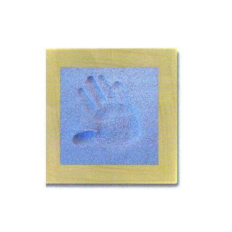 Sand Memories Handabdruck mit Holzrahmen 'blauer Sand'