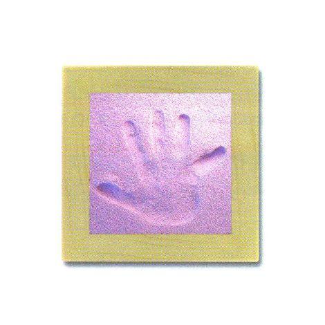 Sand Memories Handabdruck mit Holzrahmen 'rosa Sand'