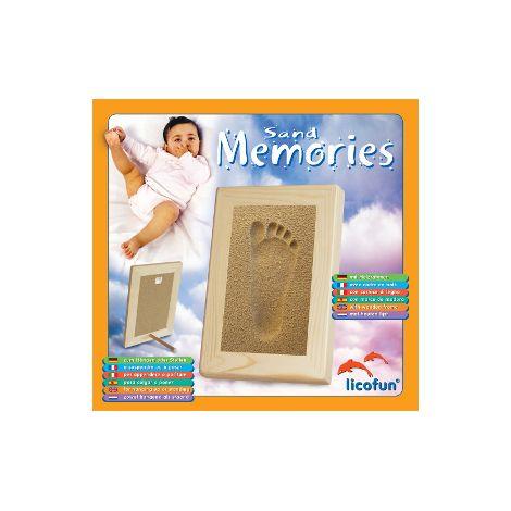 Sand Memories Fußabdruck mit Holzrahmen 'blauer Sand'