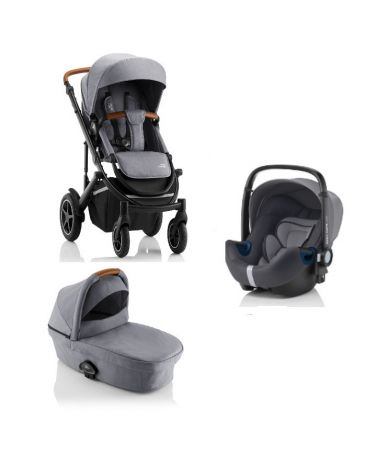 Britax Römer SMILE III – COMFORT SET in Frost Grey, Brown Handle